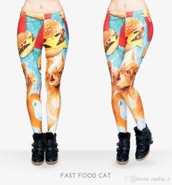 Wholesale 2017 Leggings de la nueva impresión de la aptitud para las mujeres Polaina libre del tamaño Polainas suaves pantalones leggings florales de la yoga para el gimnasio de las mujeres Gato del gato de los alimentos de preparación rápida