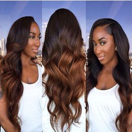 Discount ombre human hair wave Ombre Human Hair Wigs T1b 4 30 Body Wave Virgin Brazilian Hair Three Tone Glueless Lace Front Wigs With Baby Hair