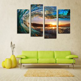 Wall Art Picture 4 Panels Framed Sea Wave Scenery Wall Art Pictures Print On Canvas Painting For Home Kitchen Decoration