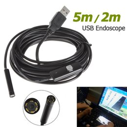 Portable 5m Cable 7mm Lens Waterproof Mini USB Endoscope camera Caméra d'inspection Camera Borescope Tube Snake Scope 6 LED EGS_015