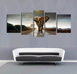 5pcs Elephant Morden Abstract Oil Painting Painted Painting Painting Oil On Canvas Home Decoration Living Room