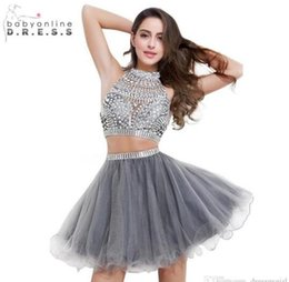 2017 En Stock Deux pièces Mini Cocktail Robes Homecoming Cheap Haut Cou Backless Sparkly Crystal perlé Button Prom Party Dressed