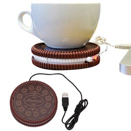 online shopping Portable Cookie Shape Cup Mat USB Power Supply Cable Heater Mat Drinks Warmer Mug Drink Coaster Vacuum Cup Pad Creative Coasters