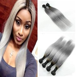 2017 ombre two tone color virgin hair 1b grey dark root ombre silky straight virgin malaysian two tone human hair weave weft extensions top sale sliver gray ombre hair 10-30inch inexpensive ombre two tone color virgin hair
