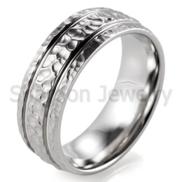 shardon unique 8mm titanium band hammered grooved shiny edge men wedding band us size 8 13 available - Unique Wedding Rings For Men