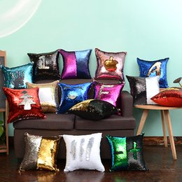 Sequin Pillow Cover Two Colors Home Sofa Car Cushion Accessory Diy Pattern Fashion Decor Pillowslip High Quality