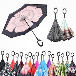 Автомобильные перевернутые зонты C Ручка Self Stand Umbrella Inside Out Обратный зонтик Ветер от дождя Солнцезащитный зонтик Chuva Umbrellas Paragua OOA1267
