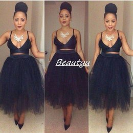 online shopping Cheap Puffy Ball Gown Pencil Tulle Skirts Tutu Little Black Dresses For Women Plus Size High Waist Tea Length Custom Made