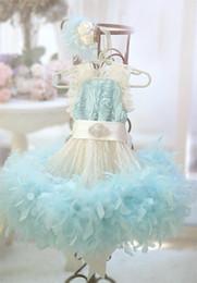 Wholesale 2017 agua azul bebé bebé cordón cumpleaños flor guirnalda marfil marfil muchacha niño pequeño primero vestido vestido