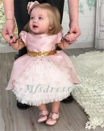 online shopping 2017 Cute Pink Ruffles Tea Length Flower Girl Dresses with Gold Sequins bow Lovely Kids Baby Birthday Party Gowns Girls Formal Party Dresses