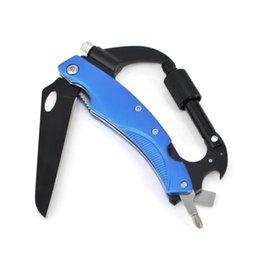 Escalada Carabiner Hook Gear Multi-funcional herramienta Buckle Rock Lock Llavero, Carabiners de herramientas múltiples con cuchillo + destornillador + abrebotellas
