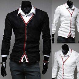 Wholesale Fashion Mens Cardigan chandail tricot usure Casual Slim tricot chemises noir blanc couleurs Livraison gratuite