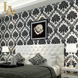 Wholesale European Embossed Flocking Black Damask Wallpaper 3d Living Room Bedroom Luxury Home Decor Modern Wall Paper Rolls W14