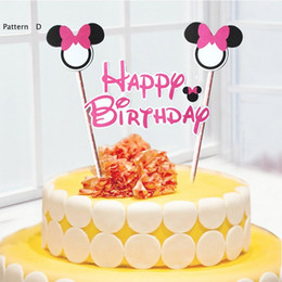 wholesale mickey minnie mouse cake topper for kids happy birthday party decoration supplies baby shower party decoration can be written affordable baby - Wholesale Cake Decorating Supplies