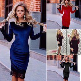 online shopping 2017 vintage Bodycon Dress Lady Women Pencil Dress Long Sleeve Casual Office Party Dresses lace elegant Robe Femme vestidos