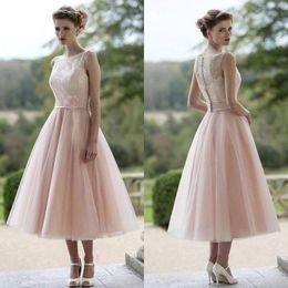 Discount Coral Tea Length Modest Dresses | 2017 Coral Tea Length ...