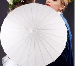Papier blanc ordinaire Parasols Parapluies d'artisanat chinois Long Bamboo Handle Umbrella New Arrival Parfum de mariée Party Party PropLLFA