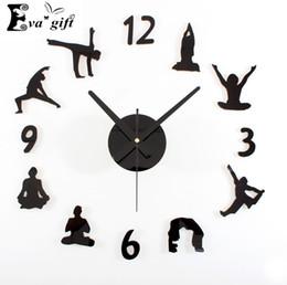 wholesale creative yoga wall clock for living room mute quartz diy wall watch decorative fashion wall stickers clock for women gift decorative clocks for - Decorative Clocks