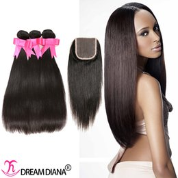 Virgin Hair Brazilian Hair Bundles avec dentelle Fermeture Extensions de cheveux humains Straight Natural Color Dyeable Dream Diana