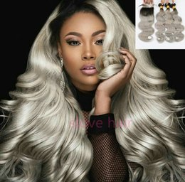 Discount ombre weaves closure 7A 1b Grey ombre hair weave Body Wave Brazilian Indian virgin hair bundles with lace top closure silver hair extensions