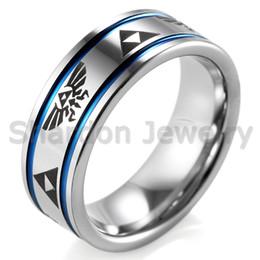 shardon 8mm mens blue grooves tungsten carbide ring comfort fit with lasered zelda design wedding ring for men - Design Wedding Ring