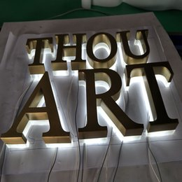 stainless steel backlit signage letters led 3d illuminated channel letters signs for advertising customized