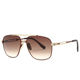 flat top sunglasses j3wh  Wholesale- High Quality Fashion Gold Sunglasses For Men Brand Designer  Square Mens Sunglass Vintage Retro Sun Glasses For Man Flat Top Lens