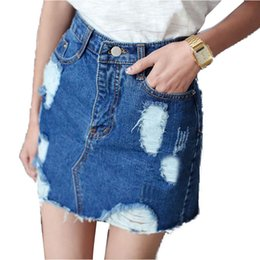 Ripped Denim Jeans Skirt Online | Ripped Denim Jeans Skirt for Sale