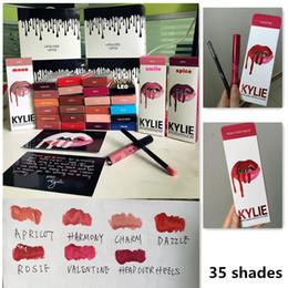 Los últimos 35 colores KIT DE LABORATORIO KYLIE JENNER regular 28 edición de la tarjeta del día de San Valentín x nuevo 6 Kylie Lipliner lápiz Lápiz labial líquido mate Lápiz labial rojo de terciopelo