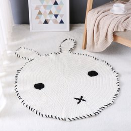 kids baby childrens room carpet mats rabbit fox pattern hand woven animal mats children mats knitted wool blankets ins nordic style 1364 - Baby Boy Room Rugs