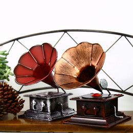 Zakka Retro Phonograph Handmade Vintage Home Decor Metal Crafts Bar Decoration Shabby Chic Home Accessories