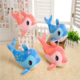 online shopping 30cm lovely colour dolphin plush toys stuffed animals toys soft Christmas toys marine organism plush pendant dolls birthday party ornament