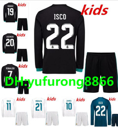 2017 2018 Real Madrid Long Sleeve Kids Soccer Jerseys Kits Youth Jersey  Ronaldo Bale Benzema Isco Modric Asensio Kroos Boys football shirts cheap  bale youth ... 631f307e72d93