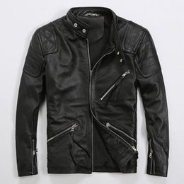 Discount Men Real Leather Motorcycle Jacket | 2017 Men Real ...