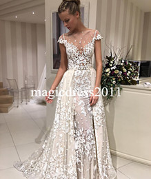wholesale chic lace vestidos de novia riki dalal bridal gowns vaina jewel manga corta ilusin blusa