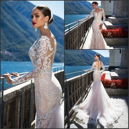 2017 long sleeve backless mermaid dress Romantic Milla Nova 2017 New Fashion Mermaid Wedding Dresses Illusion Top with Lace Appliques Court Train Long Sleeve Vestido De Novia cheap long sleeve backless mermaid dress
