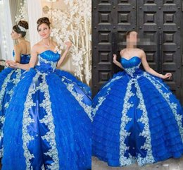 Wholesale Vestidos de Quinceanera de Vestido de Bola de Royal Blue Debutante Lace Applique Crystal Puffy Vestidos de baile Custom Made Masquerade Pageant Dress