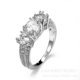 Classic Three-stone Diamonique WHITE Gold Plated Wedding Band Ring Size6-10  Gift diamonique engagement rings white gold deals