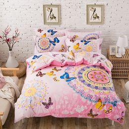 Wholesale-UNIHOME 100%COTTON bohemian boho style pink butterfly bedding set  girlsbutterfly cartoon print giraffe duvet cover bed linen