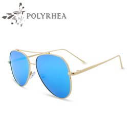 polarized mirrored aviator sunglasses 28wk  2017 Fashion Flat Lens Mirror Aviator Sunglasses Brand Designer Polarized  Sunglasses Luxury Unisex Mirror Lens High Quality Fashion Women