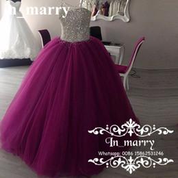 Wholesale Vestido de bola de cristal con cuentas de lujo Quinceanera Dresses Debutante Sweet Puffy Purple Tulle Falda Masquerade Vestidos De Anos Prom