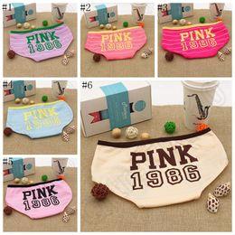 PINK 1986 Sous-vêtements Pink Lettre Candy Couleur Coton Sous-vêtements Femmes Culottes Filles Culottes Pantalons Culotte 6 couleurs 100pcs OOA1054