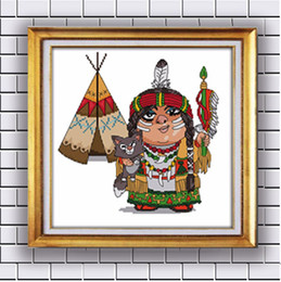 Indian Cartoon Needlework Home Decor Paintings Counted Printed On Canvas Dmc 14ct 11ct Chinese Cross Stitch Needlework Sets Embroidery Kits