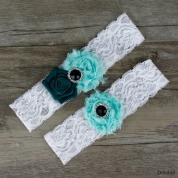 Wholesale Dorchid Women Beaded Bridal Garters for Wedding Lace Floral Crystal Garters Stretch Forest Green One Size Fits More Bridal Leg Garters