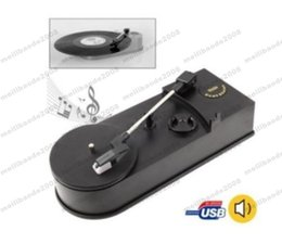 USB Mini Phonograph Placa giratoria Placas giratorias de vinilo Reproductor de audio Soporte Giratorio Convertir LP Record a MP3 Función MYY