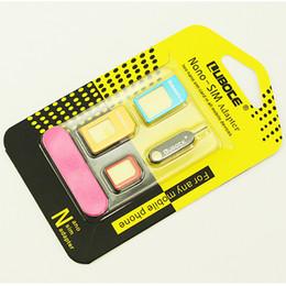 5 en 1 Set Nano carte SIM à micro carte SIM convertisseur adaptateur standard pour Iphone 5 6 Plus Galaxy S5 S6 Edge tous les téléphones cellulaires avec éjecter Pin
