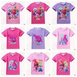 Newly 11 Styles Trolls Kids T-Shirts Poppy ramo desenhos animados de manga curta camisetas Meninas Top Tees CCA5432 50pcs
