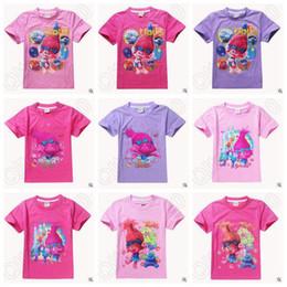 Nouveaux 11 Trolls Enfants T-shirts Poppy Branch Cartoon T-shirts manches courtes Girls Top Tees CCA5432 50pcs