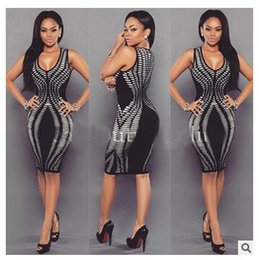 Discount night out black dresses Sexy Bodycon Women Summer Dress 2017 New Fashion Print Short Party Dresses Sleeveless O-Neck Package Hip Bandage Mini Club Dress