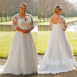 online shopping Country Plus Size Wedding Dresses Maxi Gowns For Brides Half Sleeves V Neck A Line Bridal Dress